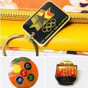 Vintage 1984 Olympics LA OC keychain pin set